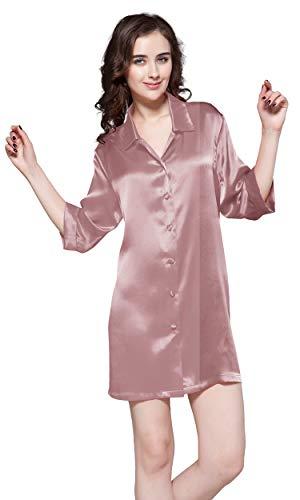 LilySilk Zauberhaft Seide Nachtshirt Nachthemd Damen Langarm 22 Momme (Large, Rosa) Verpackung MEHRWEG