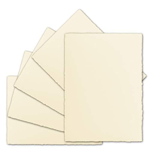 50 Stück ca. B6 Vintage Karten, echtes Bütten-Papier, 113 x 175 mm, Elfenbein halbmatt - ohne Falz - Vellum Oberfläche - Original Zerkall-Bütten