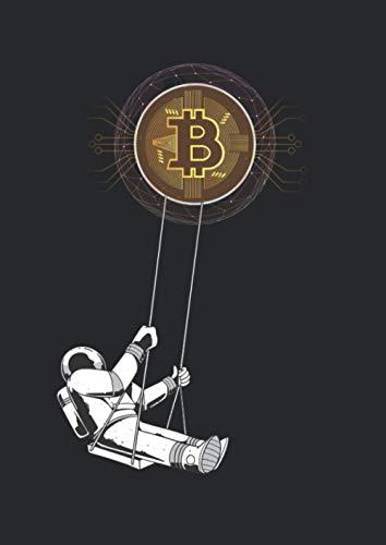 Notizbuch A4 dotted, gepunktet, punktiert mit Softcover Design: Bitcoin Astronaut auf Schaukel Krypto Blockchain Coin: 120 dotted (Punktgitter) DIN A4 Seiten