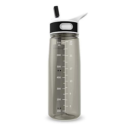 BOTTLED JOY Water Bottle with Filter, 27oz Water Bottle with Replaceable 2-Stages Filter BPA Free Hollow Fiber Membrane Filter Reusable Straw for Hiking Camping Backpacking Hunting and Fishing