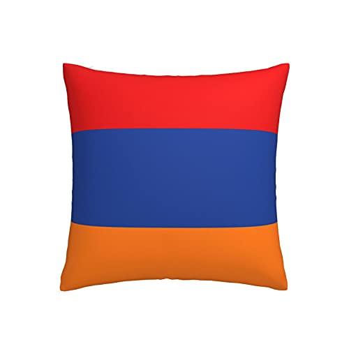 Kissenbezug, Motiv: Flagge von Armenien, quadratisch, dekorativer Kissenbezug für Sofa, Couch, Zuhause, Schlafzimmer, für drinnen & draußen, 45,7 x 45,7 cm