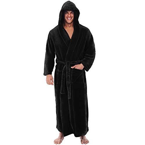 riou Bata De Estar En Casa Hombre Súper Suave Pijama Invierno Albornoz de Felpa Alargada Ropa para el Hogar Abrigo Sudadera con Capucha, Regalos para Hombres