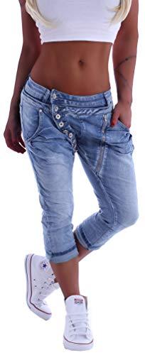 Mozzaar Damen Boyfriend Jeans Baggy Haremshose Caprihose Bermudas Kurz XS 34 S 36 M 38 L 40 XL 42 Blau Schwarz gr größe size Capri Hose-n sommerhose hüftjeans jeanshose-n boyfriendjeans stretch-hose-n
