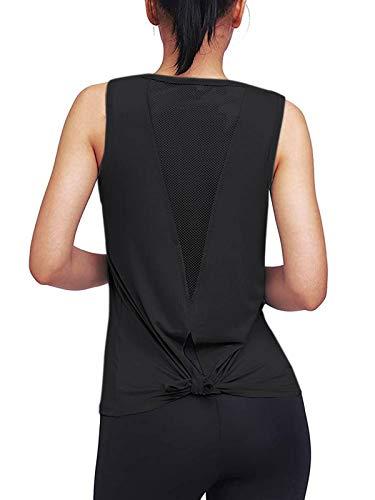 Zanzea - Camiseta deportiva sin mangas para mujer, cuello redondo, chaleco de yoga, ajuste holgado, para deportes, yoga