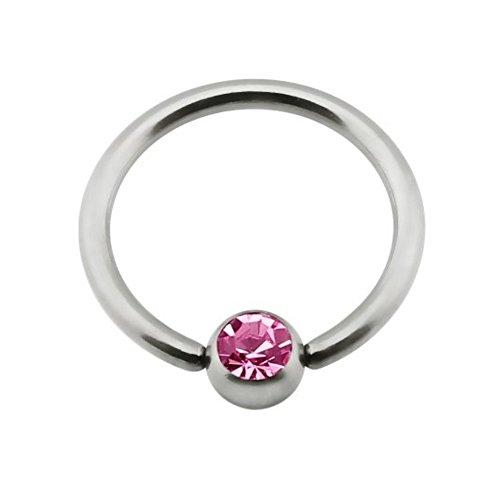 eeddoo Brustwarzen-Piercing Nippel-Ring Pinke Kristalle Silber Titan 12 mm
