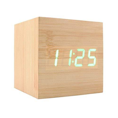 Reloj Despertador Digital XAGOO Despertador LED Cubo , Despertador de Madera con Activación por Sonido, 3 Alarmas Programables y con Indicador de Temperatura para Hogar y Oficina (Amarillo-Verde)