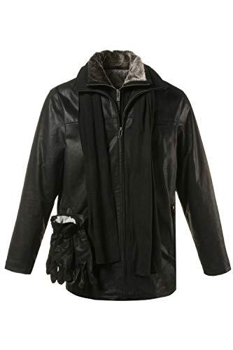 JP 1880 Herren große Größen bis 7 XL, gefütterte Lederjacke, Pork-Leder mit Zip Fleece Einsatz, im Set Handschuhe & Schal schwarz XXL 705620 10-XXL