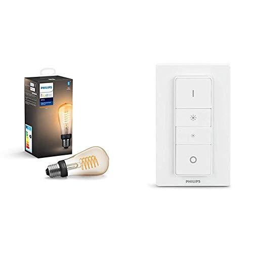 Philips Hue Bombilla Inteligente LED E27, con Bluetooth, Filamento ST64, Luz Blanca Cálida + Hue Interruptor / Mando Inteligente Inalámbrico, Portátil, Posibilidad de Montaje en Pared