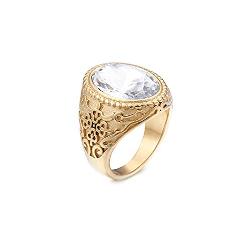 Aeici Ring Men Titanium Gold Flower Pattern with Oval Ring White Rings Size T 1/2