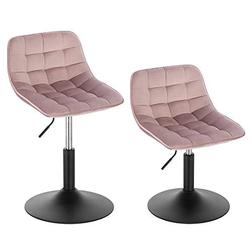WOLTU 2er Set Verstellbarer Hocker Stuhl Barhocker Rahmendesign Esszimmerstuhl Schminkhocker Kommerzieller Shop Mehrzweck 360° Schwenken Samt Rosa Sitz 38-49.5cm Hoch