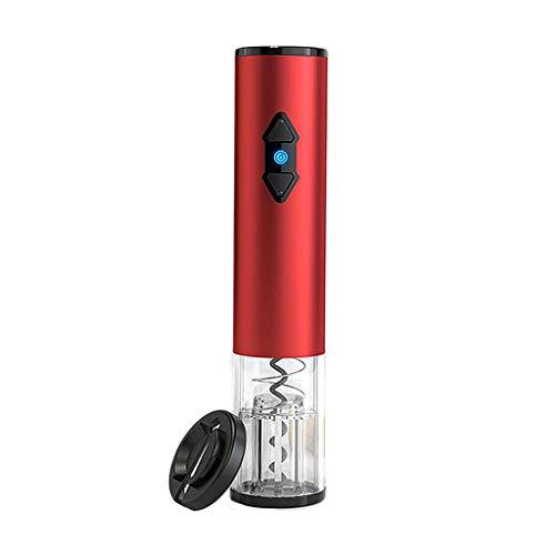 LOVIVER Tapón de Vino eléctrico abridor de Botellas de aleación de Corcho de Vino con recordatorio LED y Cortador de lámina Home Bar Accesorio de Cocina - Rojo