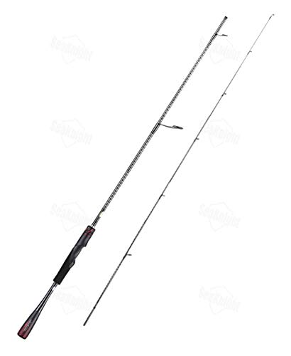 Hayandy Lure Fishing Rod 166M 1610m 268l 172H 2 Abschnitte Carbon-Monocoque Griff CI4 + Rollenhalter 1.98M 2.08M 2.13m-Black red_2.13M 270M-2 Spin (Color : Black red, Size : 2.03M 268L Spin)