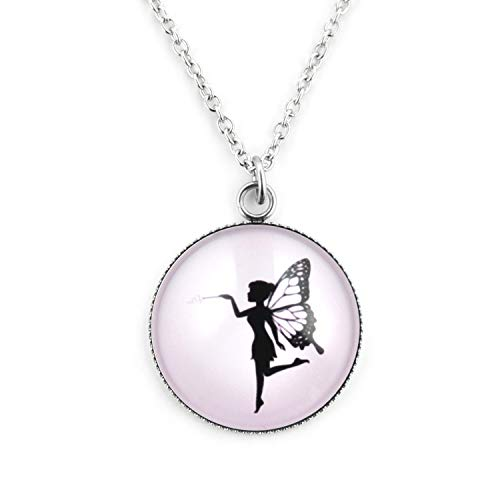 SCHMUCKZUCKER Damen Kette mit Anhänger Motiv Elfe mit Zauberstab Edelstahl Schmuck Silber-Farben Rosa - Großer Anhänger (25mm) - Kurze Kette (45cm)