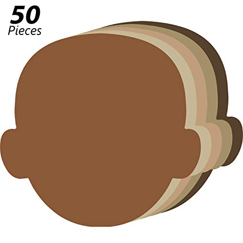 50 Pieces Face Multicultural Creative Cut-Outs Face Shape Paper Cutouts for Children to Design and Decorate, Craft Group Projects, Unity in Diversity Kids' Craft Projects for School/Home, 5.5 Inch