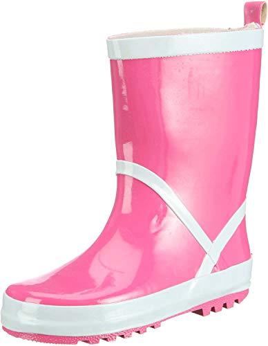Playshoes Kinder Gummistiefel aus Naturkautschuk, trendige Unisex Regenstiefel mit Reflektoren, Pink (pink 18), 32/33