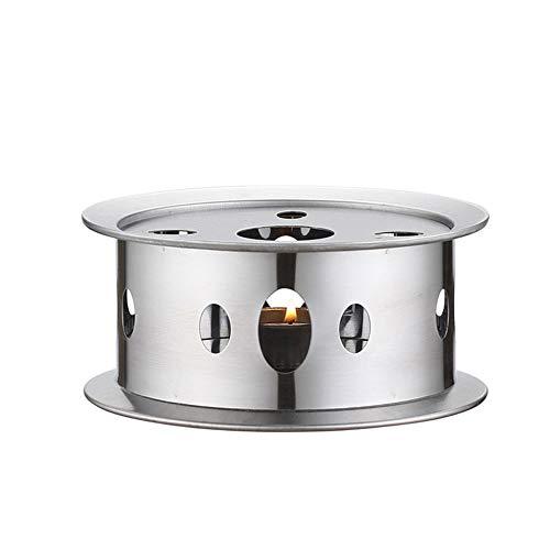ZAK168 Edelstahl Teekanne Wärmer Basis, Rund Hohl Rahmen Design Kerzenständer Essen Wärmer, Kaffee/Teekanne Teelicht Heizung (Silber)