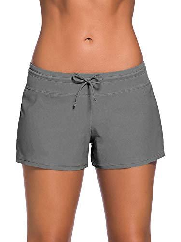 WILLBOND Women Swimsuit Shorts Tankini Swim Briefs Plus Size Bottom Boardshort Summer Swimwear Beach Trunks for Girls (Grey, XXXL)
