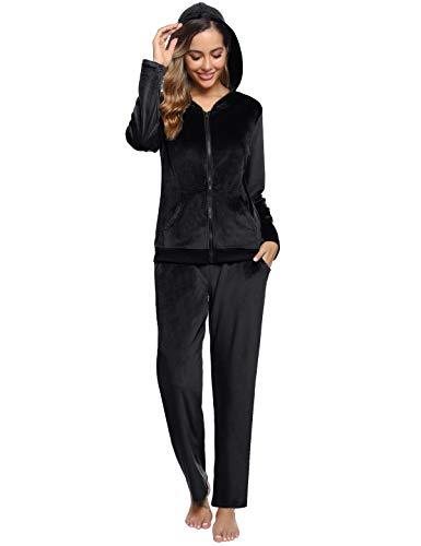 Abollria Donna Tute da Ginnastica Invernale 2 Pezzi, Completi Sportivi Abbigliamento con Cappuccio, Felpa per Corsa Yoga Pigiama per Casa Nero L