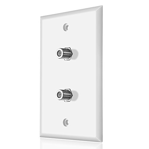 Dual Coaxial F Connector Wall Plate, White for Cable TV & Satellite