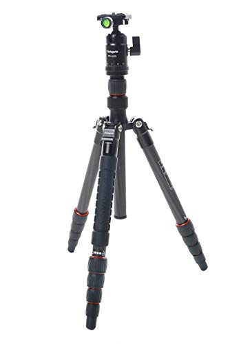 Fotopro x-go Drehriegelverschluss Carbon Stativ mit integriertem Einbeinstativ, fph-42q Kugelkopf, 17lbs Kapazität, 142,2cm Maximale Höhe