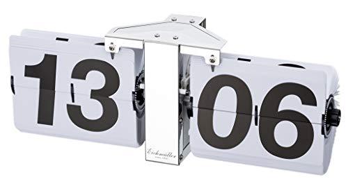 Eichmüller since 1950 Deko Flip Uhr - Tischuhr - Silber weiß