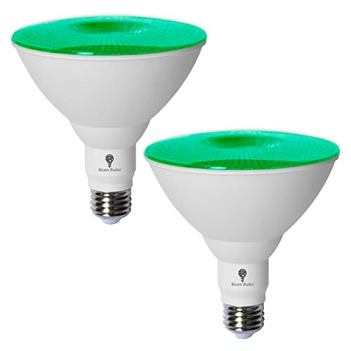 2 Pack BlueX LED Par38 Flood Green Light Bulb - 18W (120Watt Equivalent) - Dimmable - E26 Base Green LED Lights, Party Decoration, Porch, Home Lighting, Holiday Lighting, Red Flood Light