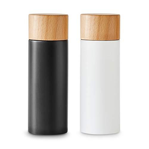 Salz- und Pfeffermühlen-Set 2-tlg, Gewürzmühle aus Birkenholz im Scandi-Design, Verstellbares Keramikmahlwerk, Grinder, Unbefüllt & Nachfüllbar - Schwarz/Weiß
