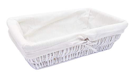 topfurnishing Full Wicker Strong Wider Shallow Wicker Storage Basket Xmas Hamper Basket Gift[White,Small (34 x 20 x 9cm)]