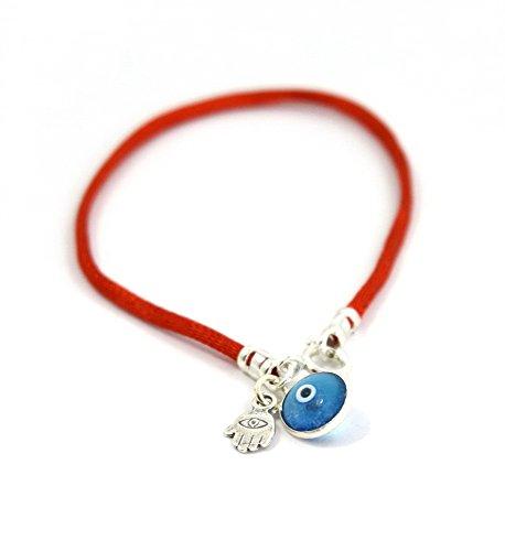 Damenarmband mit blauem Auge und Hamsa Hand mit rotem Band, 18 cm