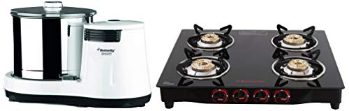 Butterfly Smart Wet Grinder, 2L (White) With Coconut Scrapper Attachment, 150 W & Butterfly Smart Glass 4 Burner Gas Stove, Black