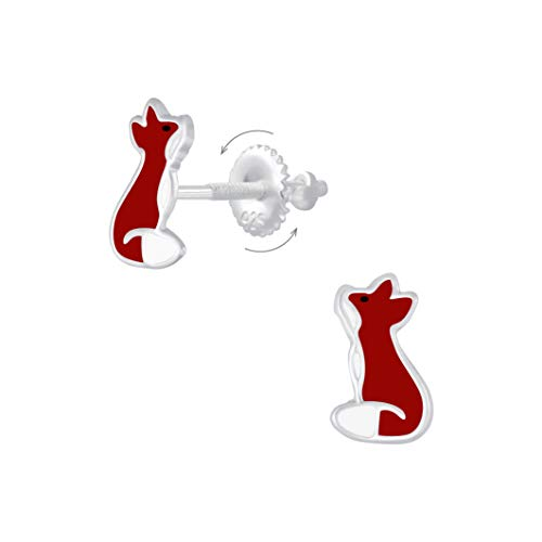 Laimons Pendientes infantiles de zorro, 10 mm, color rojo y marrón rojizo con cierre de rosca de plata de ley 925