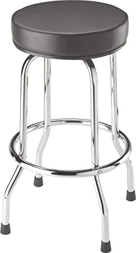 BIG RED Torin Swivel Bar Stool: Padded Garage/Shop Seat with Chrome Plated Legs, Black
