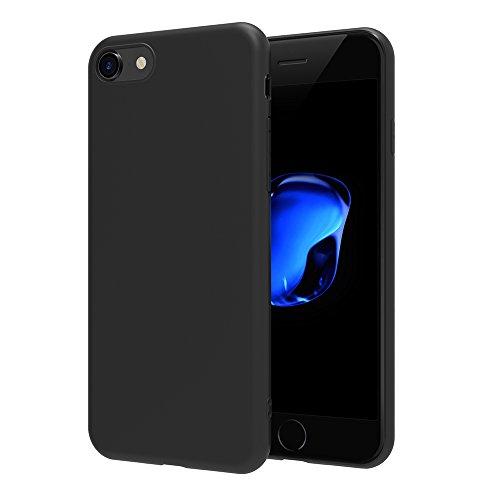 AICEK Cover Compatibile per iPhone 7 / iPhone 8, Cover Compatibile with iPhone 7 Nero Silicone Case Molle di TPU Sottile Custodia Compatibile con iPhone 8