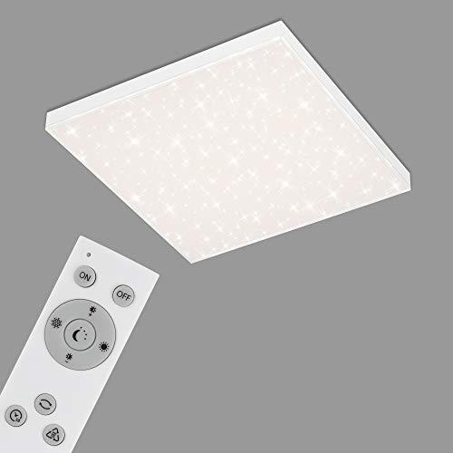 Briloner Leuchten - LED Panel, Deckenleuchte dimmbar, Deckenlampe mit Lichtkante, Sternendekor, inkl. Fernbedienung, Farbtemperatursteuerung, 24 Watt, 2.400 Lumen, Weiß, 450x450x69mm (LxBxH)