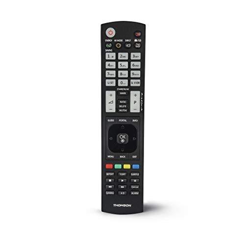 Thomson ROC1128LG - Mando a Distancia de Repuesto para televisores LG, Listo para Usar, adaptativo, Modo Sencillo, Teclas Luminosas, Infrarrojos, Color Negro