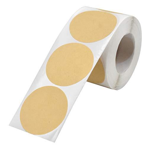 Etiquetas Adhesivas Kraft, 500 Piezas Espacio en Blanco Redondo Marr贸n Natural Kraft Labels Etiquetas Adhesivas Hornear para Regalo Bolsa Scrapbooking Tarros Alimentos