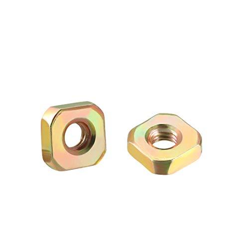uxcell Square Nuts, M5x11mmx4mm Yellow Zinc Plated Metric Coarse Thread Assortment Kit, 100 Pcs