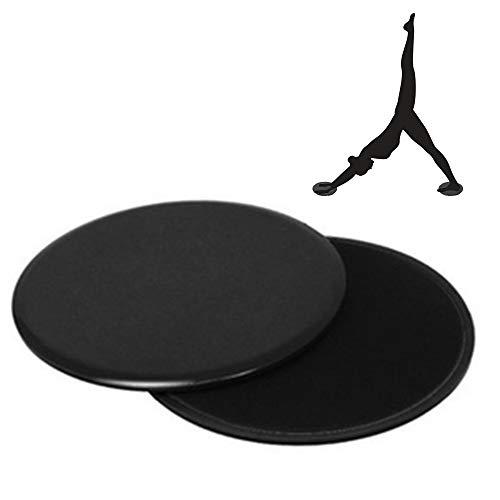 Eshan Core Sliders - Disco deslizante para ejercicio (doble cara, uso en alfombras o suelos de madera dura), equipo de ejercicio abdominal, entrenamiento de cuerpo completo en casa y gimnasio, negro