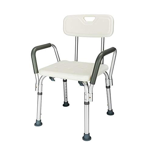 Mefeir FDA 450LBS Medical Shower Chair Bath Seat,Upgraded Transfer Bench Stool Framework SPA Bathtub Chair, No-Slip Safety Adjustable 6 Height,with Durable Back and Arms