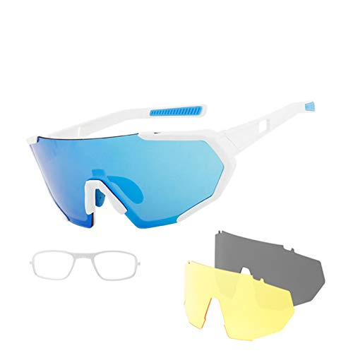 Gafas de Ciclismo Coloridas, Gafas Deportivas Al Aire Libre a Prueba de Viento con 2 Lentes Intercambiables, Gafas de Sol Polarizadas, para Escalar, Pescar, Conducir, Golf,Blanco