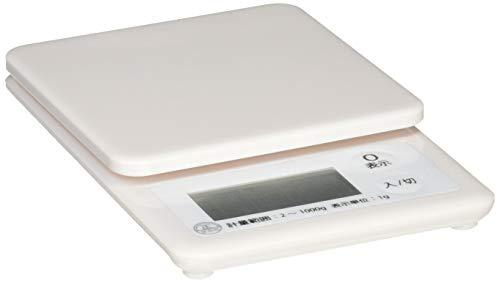 オーム電機 OHM デジタルキッチンスケール 1kg計 ホワイト COK-S100-W