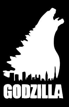 TAMZAM - Godzilla Horror City Silhouette Decal Vinyl Sticker White Cars Trucks Vans SUV Laptops Walls Glass Metal - 5.5 inches