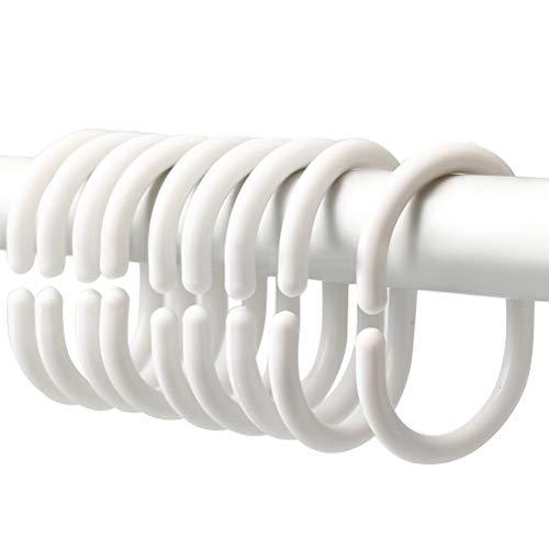 nuoshen 36 Stücke Plastik Duschvorhangringe, Rund Duschvorhangringe C-Form Duschvorhang Haken 5,2 x 0,5 x 3,7 cm (Weiß)