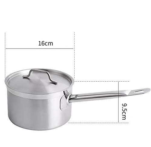 Cacerola, sartén de acero inoxidable, ollas, adecuado para todo tipo de estufas de cocina, sartén de leche de 16-30 cm, juego de sartenes de inducción-16cm