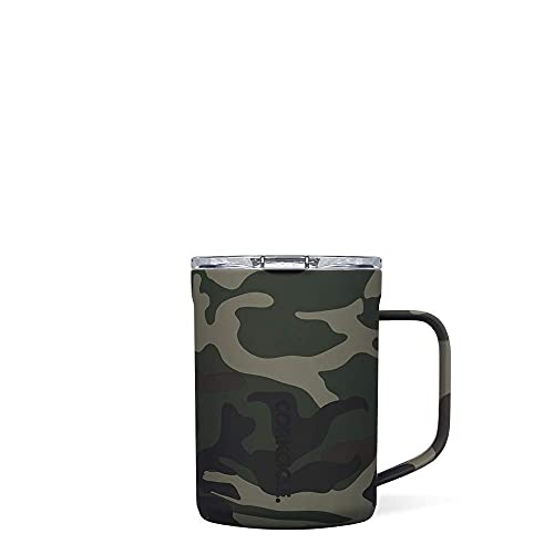 Corkcicle Coffee Mug - Triple-Insulated Stainless Steel Cup with Handle, 16 oz, Woodland Camo