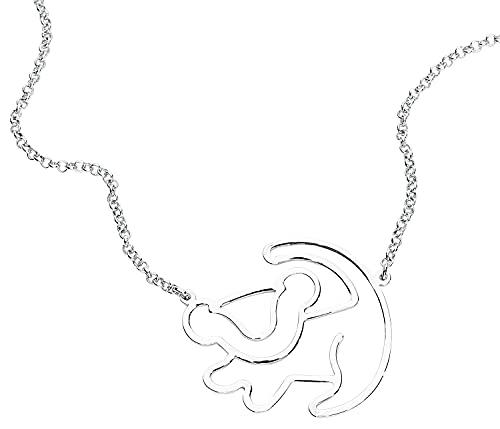 Der König der Löwen Le Roi Lion Disney by Couture Kingdom - Silhouette De Simba Femme Collier Standard, Métal,