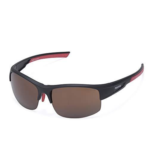 High Definition Golf Ball Finder Sport Glasses for Men Women Golf Sunglasses Golf Glasses Golf Sports Eyewear MZ861 (Black Frame Brown Lens)