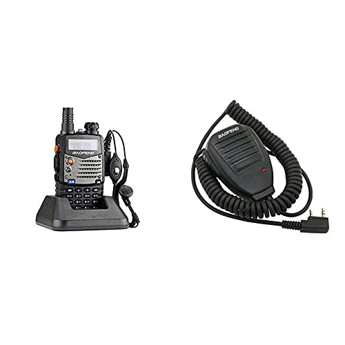 Baofeng UV-5RA Walkie Talkie 5W FM Radio VHF con Banda Dual de Doble frecuencia UHF DTMF VOX + UV-5R Speaker Microfono para Walkie Talkie UV-5R, Color Negro