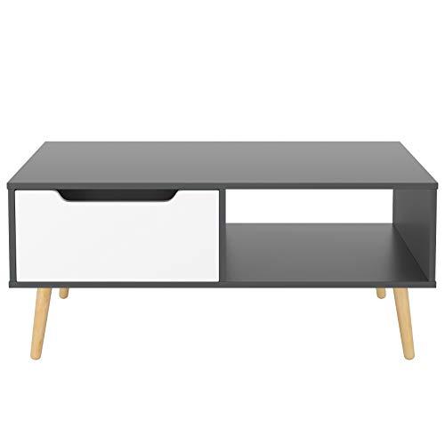 Tavolino da caffè Tavolino con 1 cassetto Tavolino basso Tavolino Divano Rettangolare Tavolino da salotto a cassetto Singolo 100x 49.5X 43cm (Bianco+Grigio Ferro)