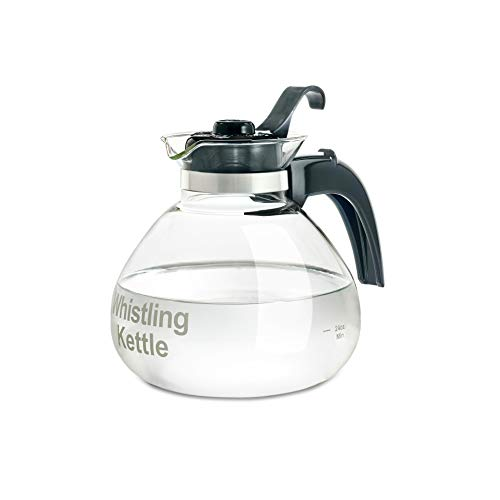 CAFÉ BREW COLLECTION Borosilicate Glass Stove Top Whistling Tea Kettle - Best BPA Free Whistling Tea Kettle - Best Glass Tea Kettle - 12 Cup Stovetop Glass Whistling Tea Kettle by Medelco